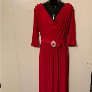 Jessica Howard Red Belted Maxi Dress Size 14